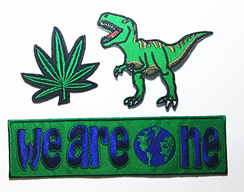 Tribal Flame Trim (PP patch Set 3 Marijuana Weed Green Leaf patch , Dinosaur Animal patch , we are one patch DIY Applique Embroidery Iron on Patch)