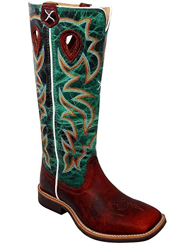 (Twisted X Youth Unisex Cognac Leather Turquoise Buckaroo Cowboy Boots 6M)