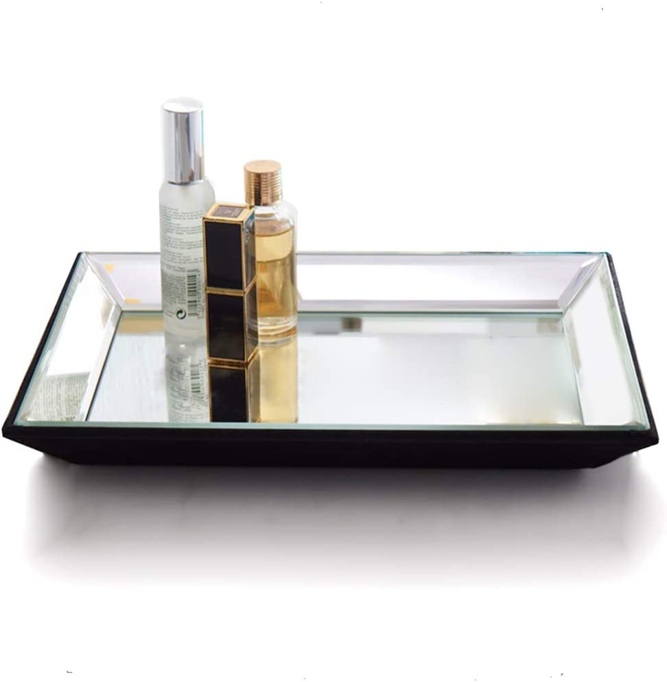 mirrored vanity tray with beveled edges