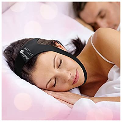 SleepWell Pro Adjustable Stop Snoring Chin Strap (Black, Fits Most)