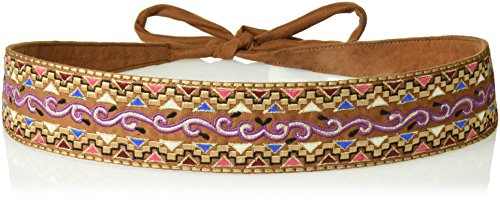 House of Boho Geometric Embroidered Tie 100% Leather Belt