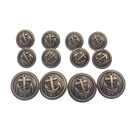 4 You Tweed Coat (12 Pieces Antique Anchor Metal Blazer Button Set - Stylish Buttons For Suits, Sport Coat, Jacket and Jeans (Bronzy))
