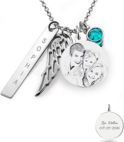birthstone necklace initial necklace personalized jewelry gift for her Personalized angel wing necklace memorial jewelry bereavement