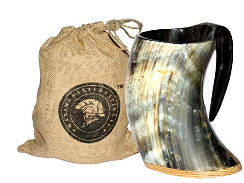 Maximus International - The Original Handcrafted Authentic Viking Drinking Horn 16oz Tankard for Beer, Mead, Ale - Medieval Inspired Stein Mug - Food Safe Vessel With burlap sack.