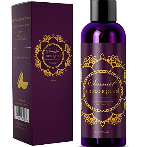 Kama Sutra Gift Basket - Sensual Massage Oil with Relaxing Lavender, Almond Oil and Jojoba for Men and Women - 100% Natural Hypoallergenic Skin Therapy with No Artificial or Added Ingredients - USA Made by Honeydew