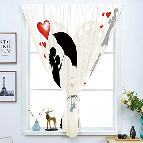 Soho Handmade Daisies (Blackout Window Curtain,Free Punching Magic Stickers Curtain,Wedding Decorations,Couple in Love Umbrella Red Hearts Daisies Romance in The Air,Black White Red,Paste Style,for Living Room)