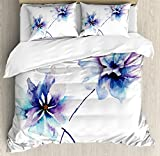 Purple and Blue Bedding Sets Ambesonne Watercolor Flower Duvet Cover Set Queen Size, Flower Drawing with Soft Spring Colors Retro Style Floral Artwork, Decorative 3 Piece Bedding Set with 2 Pillow Shams, White Purple Blue