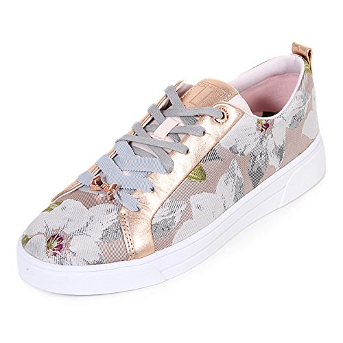 Ted Lace Up Sneakers (Ted Baker Women's Ahfiraj Jaquard Textile Lace up Trainer Chatsworth Nude-Nude-6)