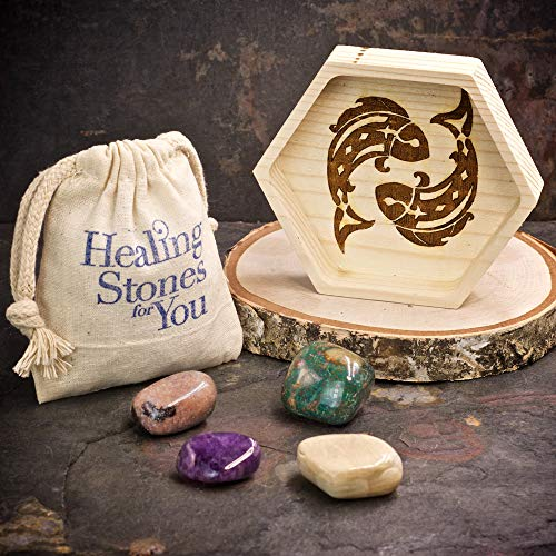 Pisces Zodiac Crystals with Handmade Hexagon Wood Dish and Amethyst, Bloodstone, Lepidolite, and Moonstone