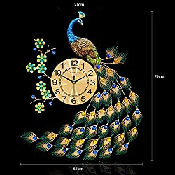 Bidesen Home Deco European Style Peacock Wall Clock Crystal Luxury Living Room Clock Creative Personality Modern Art Decorative Clock Mute Wall Watch Quartz Clock Large Size (Color : A)