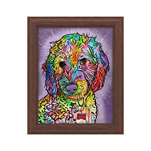 Frame Poodle (Trademark Fine Art Sweet Poodle by Dean Russo, Wood Frame 11x14, Multi-Color)