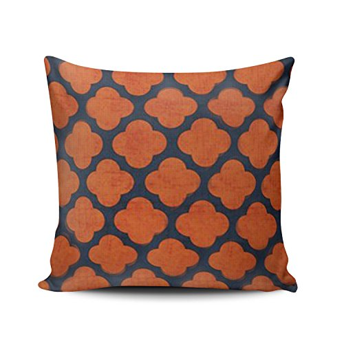 (SALLEING Custom Fashion Home Decor Pillowcase New Navy and Orange Clover Square Throw Pillow Cover Cushion Case 16x16 Inches One Sided Print)