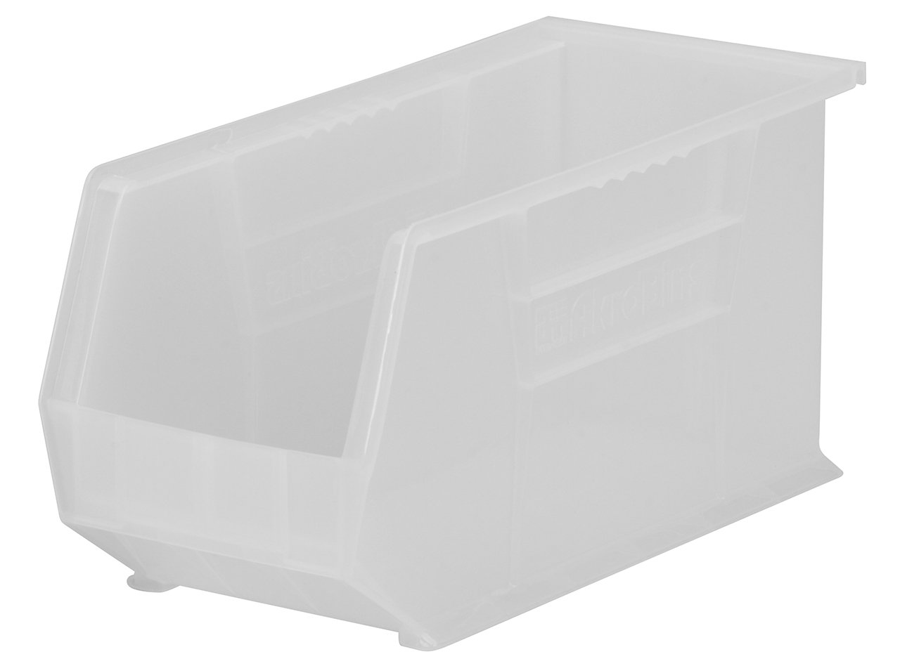 Akro-Mils 30265 Plastic Storage Stacking AkroBin, 18-Inch by 8-Inch by 9-Inch, Clear, Case of 6
