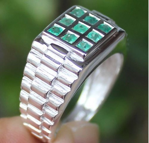 Fine Colombian Emerald (Men's Stunning! Colombian Emerald Ring Solid Silver 925)
