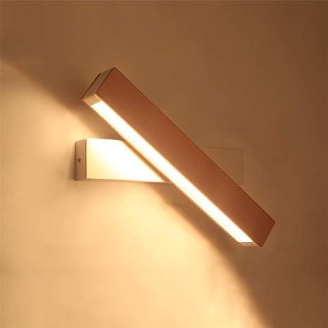 Espejo de la lámpara LED,Lámpara de pared Madera Simple ...