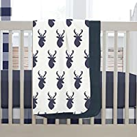 Carousel Designs Navy Deer Woodland Crib Blanket