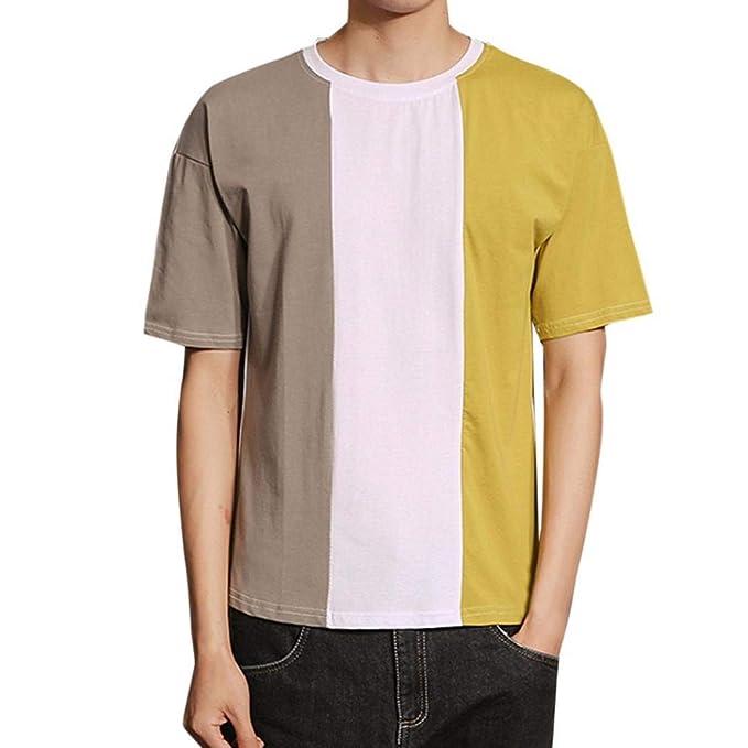 Resplend Camisa de Manga Corta Casual para Hombre con Cuello Redondo, Blusa con Cuello en