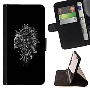 Indian Feather Headdress Black Skull - Painting Art Smile Face Style Design PU Leather Flip Stand Case Cover FOR Samsung Galaxy Note 3 III @ The Smurfs