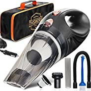 THISWORX Car Vacuum Cleaner - Portable, High Power, Handheld Vacuums w/ 3 Attachments, 16 Ft Cord & Bag -