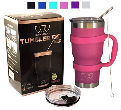 30 oz Tumbler - 6 Piece Stainless Steel Insulated Water & Coffee Cup Tumbler with Straw