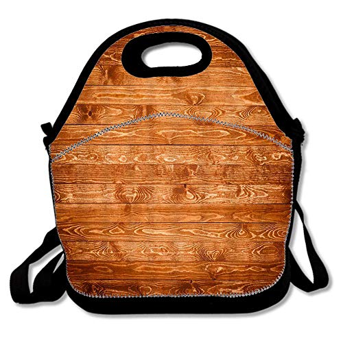 Brown Wood Board Wallpaper Insulated Lunch Tote Bento Box Organizer with Zipper Pocket Adjustable Shoulder Strap Outdoor Travel Picnic (Bento Board)