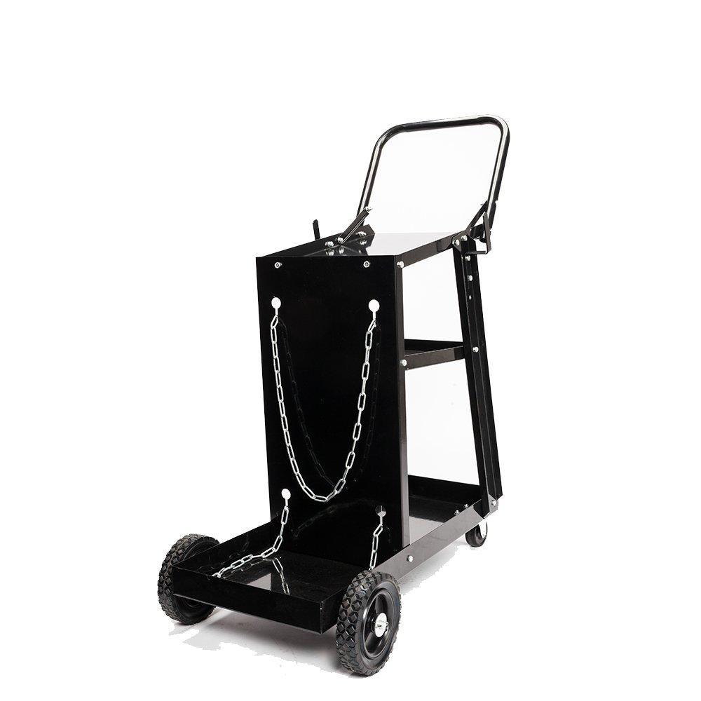 TUFFIOM 3-Tier Welder Welding Cart Plasma Cutter, MIG TIG ARC Universal Storage for Tanks w/ 2 Safety Chains, 360°Directional Wheels, 100lbs capacity, Black by TUFFIOM