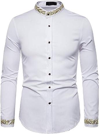 dahuo - Camisa de Vestir de Manga Corta con Cuello de ...
