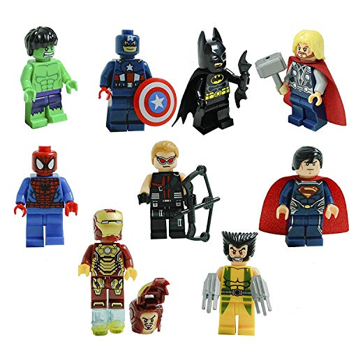 Superheroes Mini Figures 9 Piece Bundle Set - Including Wolverine, Spiderman, Hulk, Captain America, Hawkeye, Superman, Thor, Iron Man. Perfect for Loot Bags and Party Favors