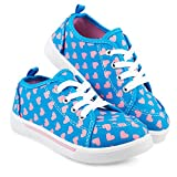 Chillipop Fashion Canvas Sneakers for Girls & Toddlers with Cute Patterns,Blue-3,6 M US Toddler