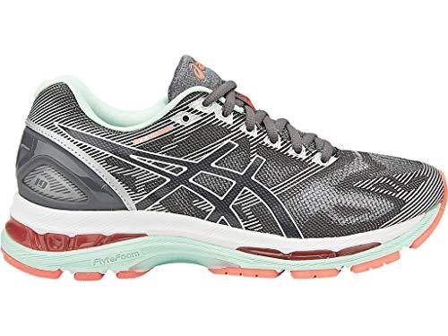 ASICS Women's Gel-Nimbus 19 Running Shoe, Carbon/White/Flash Coral, 7 D US (Asics Womens Gel Nimbus 18 Running Shoe)