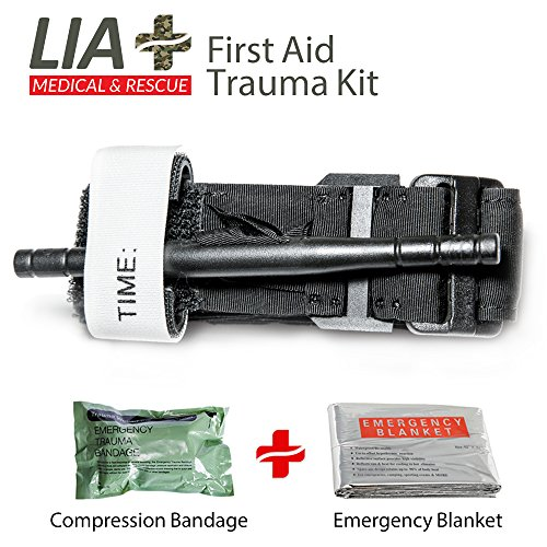 Tourniquet - Lia Medical Combat Military issue Army Application Tactical Tourniquets - Compression Bandage and an emergency blanket - The best Life Saving First Aid Trauma Kit - FDA Registered