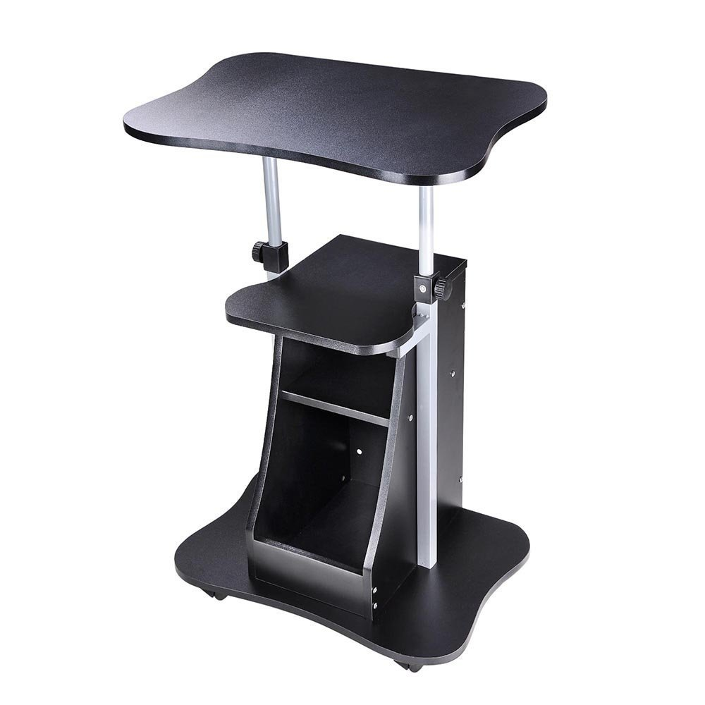 AMPERSAND SHOPS Multipurpose Height Adjustable Mobile Rolling Laptop Notebook Stand Lectern Standing Desk with Storage Shelf (Black)
