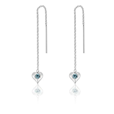 DTPSilver - 925 Sterling Silver Heart Pull Through Earrings with Swarovski Crystal Elements - Colour : Clear