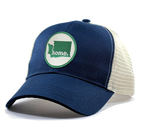 Homeland Tees Men's Washington Home State Trucker Hat with Green Patch - Blue