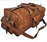 25 Inch Large Leather Duffel Travel Duffel Gym Sports Overnight Weekender Bag By Vintage Couture