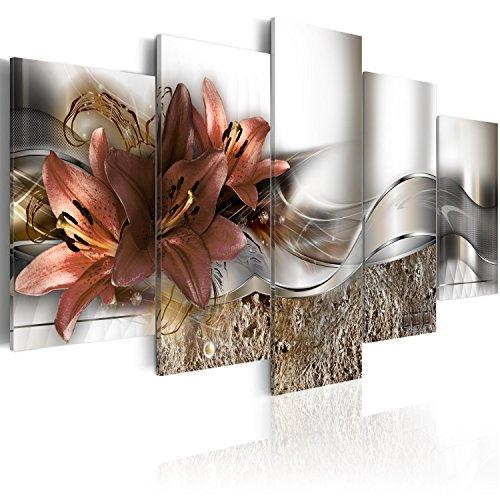 murando - Cuadro en Lienzo Flores Lirios 100x50 cm Impresion de 5 Piezas Material Tejido no Tejido Impresion Artistica Imagen Grafica Decoracion de Pared Naturaleza Abstracto - Abstracto b-A-0273-b-n