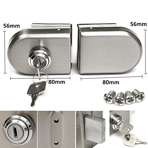 Glass Door Lock Stainless Steel 12mm Door Lock Double Swing Hinged Frameless Door 2 Keys Wtith Screws