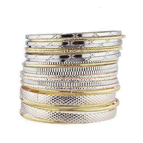 Lux Accessories Tri Color Tone Metal Aztec Etched Boho Bracelet Bangle Bracelet (Tri Color Gold Watch)