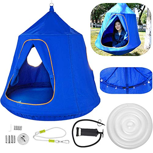 OrangeA Hanging Tree Tent Blue Hanging Tree Tent for Kids 46 H x 43.4 Diam Hanging Tree House Tent Waterproof Portable Indoor or Outdoor Use with Led Decoration Lights (Pergola Hammock)