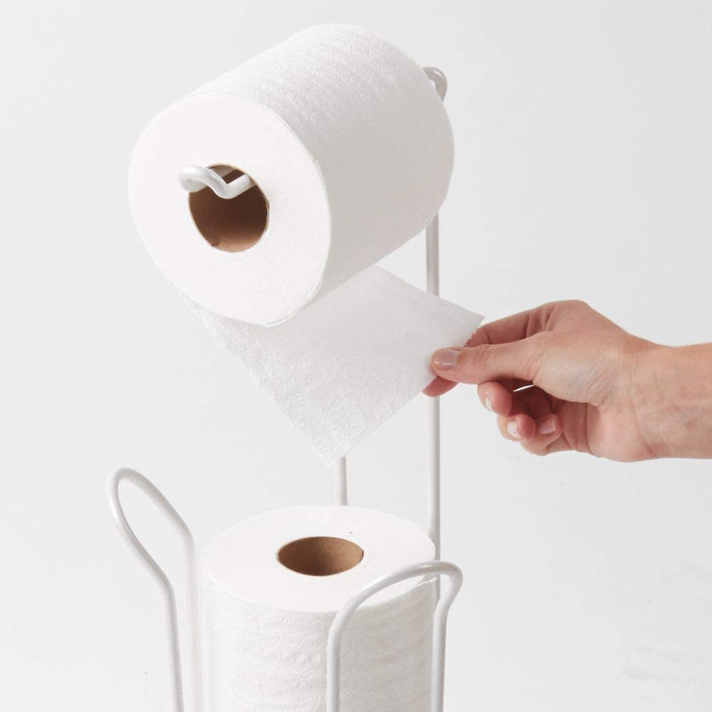 Office Bathroom 6.5 x 6.5 x 23.75 Cannister for Kids Master iDesign Classico Metal Free Standing Toilet Paper Tissue Holder Guest Pearl White