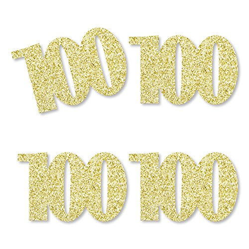 Gold Glitter 100 - No-Mess Real Gold Glitter Cut-Out Numbers - 100th Birthday Party Confetti - Set of 24]()