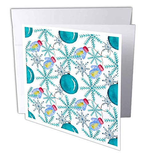 3dRose Anne Marie Baugh - Christmas - Cute Image of Watercolor Blue and Pink Snowflakes and Mittens Pattern - 1 Greeting Card with Envelope (gc_318519_5)