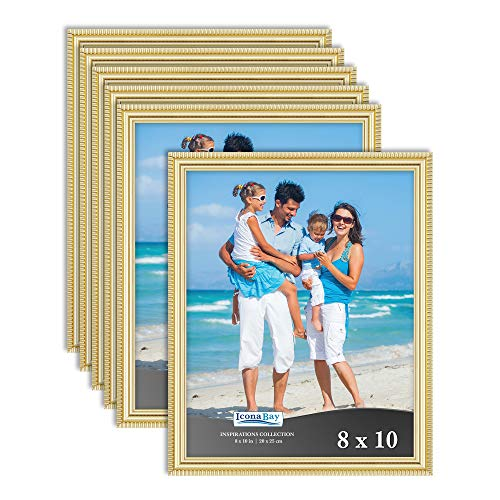 Cheap Gold Frames (Icona Bay 8x10 Picture Frames (6 Pack, Gold) Picture Frame Set, Wall Mount or Table Top, Set of 6 Inspirations)