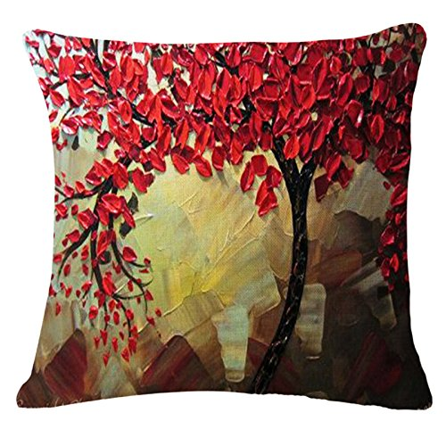 oil painting black large tree and flower birds cotton linen throw pillow case cushion cover home sofa decorative 18 x 18 inch red leaves