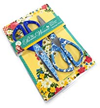 The Pioneer Woman 2 pc Heritage Floral All Purpose Stainless Steel Shears Scissors, Blue