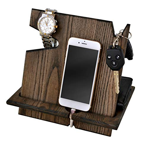 Wood Phone Docking Station, Ash Ebony Desk Organizer, Tablet Holder, Key, Coin, Wallet, Watch Stand, Handmade Men Graduation Gift, Husband Anniversary, Dad Birthday Idea, Nightstand for Him, Travel ()