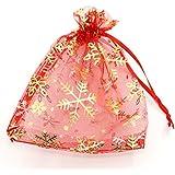 HooAMI 50-Stk. 20cm x 30cm Rot Orange Organza Säckchen mit Gelb Schneeflocke Geschenkbeutel Beutel Weihnachten Säckli (Rot)