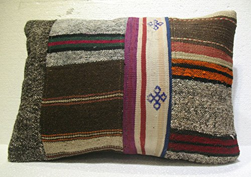 Antique Patchwork Couch Throw Pillow Turkish Kilim Rustic Cushion Size: 25.6'' x 18'' (64cm X 45cm) no : (Kilim Silk Rug)