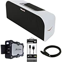 Klipsch Music Center KMC 3 Portable Speaker System White (1016240) with 2.4Amp Dual Port Power Bank Charger 7800mAh Blue, 6ft Micro USB Cable Black & 3ft Premium 3.5mm Stereo Male to Male Cable