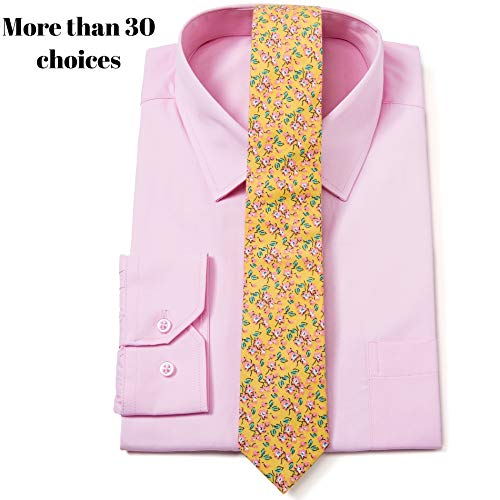 (Elzama Cotton Skinny Floral Print Tie Pocket Square Set for Special Event, Party, Wedding)